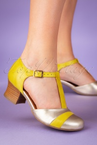 Miz Mooz 60s Fremont Leather T-Strap Pumps in Yellow and Gold