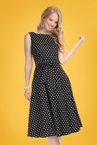 Frances Polka Dot Swing Dress Années 50 en Noir