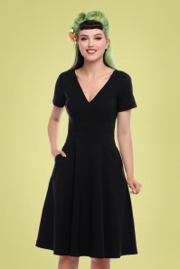 Collectif Clothing 27424 Norah Plain Black Swing Dress 20180814 020