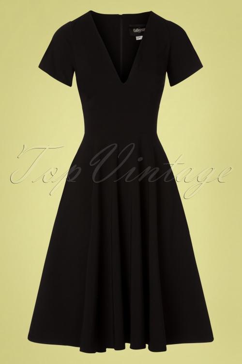Collectif Clothing 27424 Norah Plain Black Swing Dress 20180814 003W