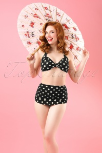 Esther Williams Swimwear 50s Classic Polka Bikini Pants in Black and White