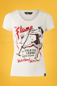 Queen Kerosin 50s The Flame Bar T-shirt in Off-White