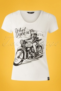 50s Rebel Queen T-shirt in Off-White