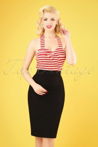Collectif Clothing 27452 Polly Plain Pencil Skirt in Black 20180815 010W