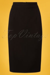 Polly Plain Pencil Skirt Années 50 en Noir