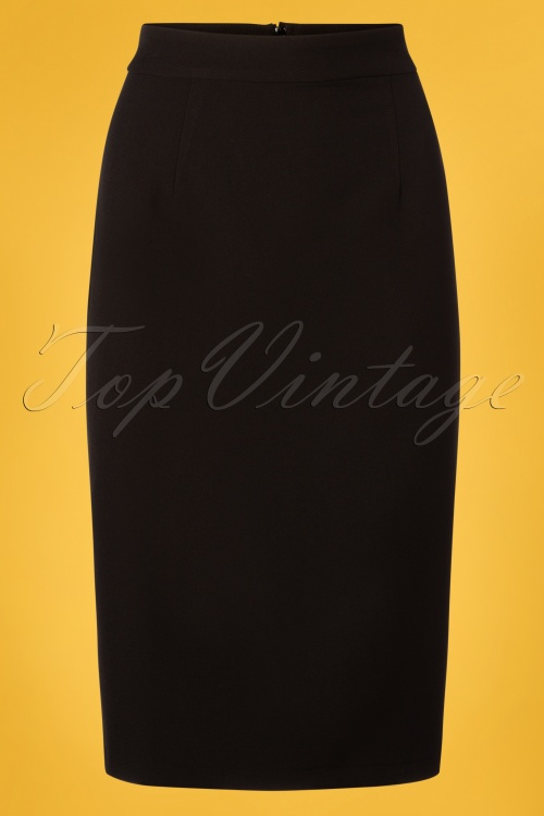 Collectif Clothing 27452 Polly Plain Pencil Skirt in Black 20180815 001W