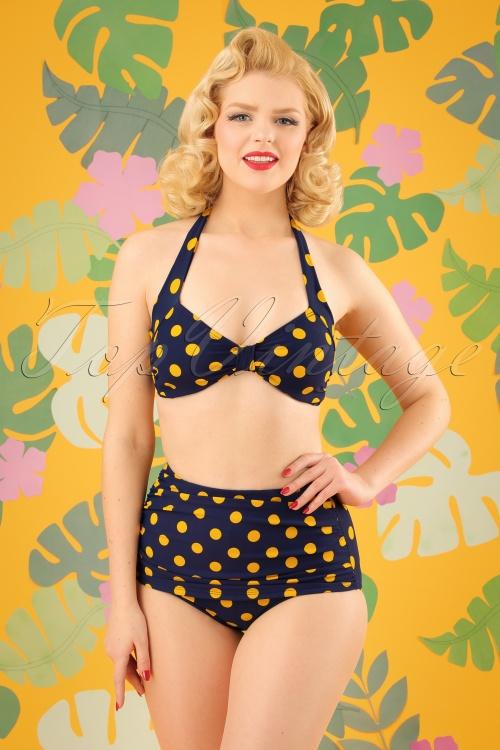 Esther Williams Navy Yellow Bikini 24146 24147 20180308 01W
