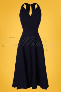 Collectif Clothing 50s Hadley Plain Swing Dress in Navy