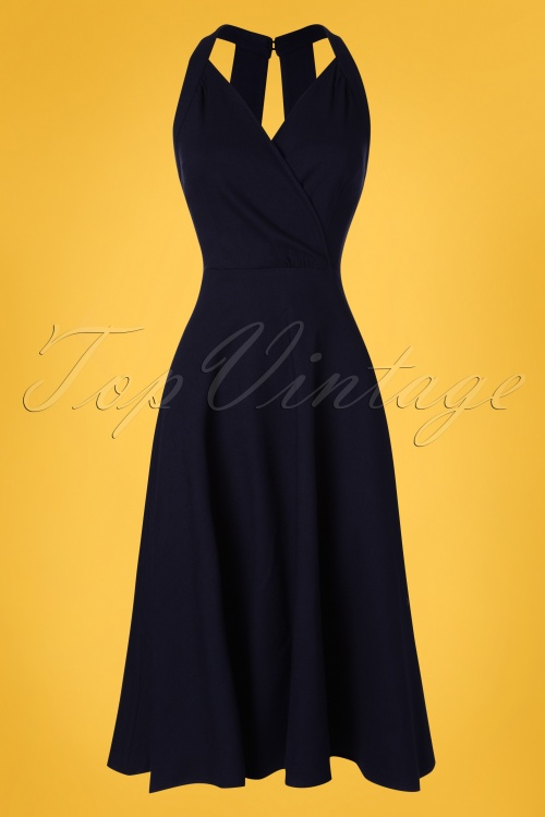 Collectif Clothing 27468 Hadley Plain Swing Dress in Navy 20180813 001W