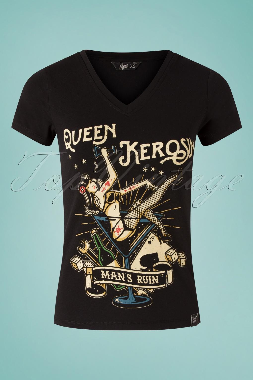 King Kérosène Life Is Too Short T-Shirt Old School Rockabilly Biker Style Noir
