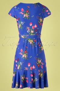 Yumi 27651 Slinky Jersey Blue Floral Dress 20190214 009W
