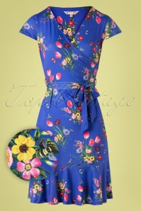Yumi 60s Fay Frill Hem Bouquet Dress in Lavender Blue