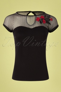 50s Mesh Roses Shirt in Black and Red