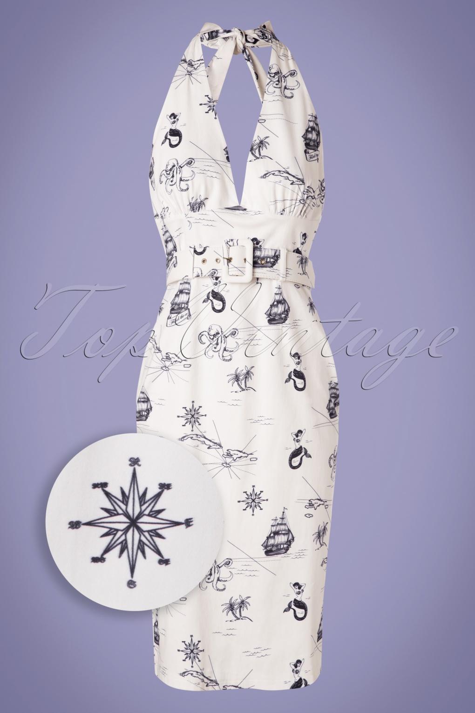 Sailor Dresses, Nautical Theme Dress, WW2 Dresses 50s Ramona Ocean Map Halter Pencil Dress in White �55.51 AT vintagedancer.com