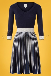 Yumi 60s Michelle Knitted Pleated Stripes Dress in Blue