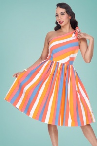 Bettie Page Clothing 50s Belinda Swing Dress in Sherbet Stripe