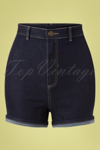 Collectif Clothing 50s Lily Denim Shorts in Navy