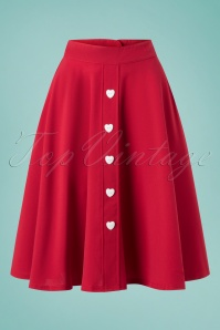 Steady Clothing 50s Be Still My Heart Thrills Swing Skirt in Red