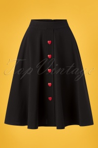 Steady Clothing 50s Be Still My Heart Thrills Swing Skirt in Black