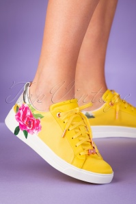 Ted Baker 50s Rialy Rose Sneakers in Magnificent Yellow