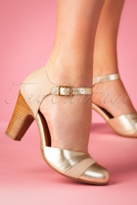 Miz Mooz 50s Jay Leather Pumps in Beige and Gold