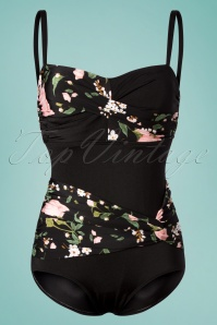 Bettie Page Swimwear 50s Suzie Flowers One Piece Swimsuit in Black