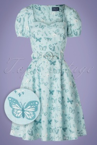 50s Paisley Butterfly Swing Dress in Blue
