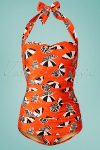 50s Parasol One Piece Swimsuit in Orange