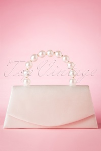 50s Pearl Perfection Satin Clutch in Ivory White