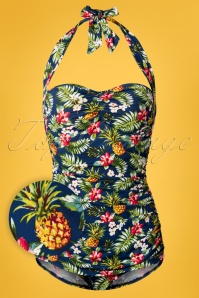 Girl Howdie Tropical Flowers Frock One Piece Swimsuit Années 50 en Bleu