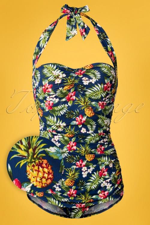 Girlhowdy 29202 Frock Tropical Blue Swimsuit 20190215 002W1