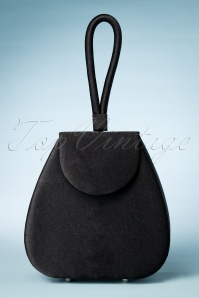 50s Satin Love Clutch in Black