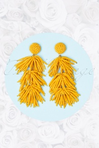 Sunshine Earrings Années 70 en Jaune Miel