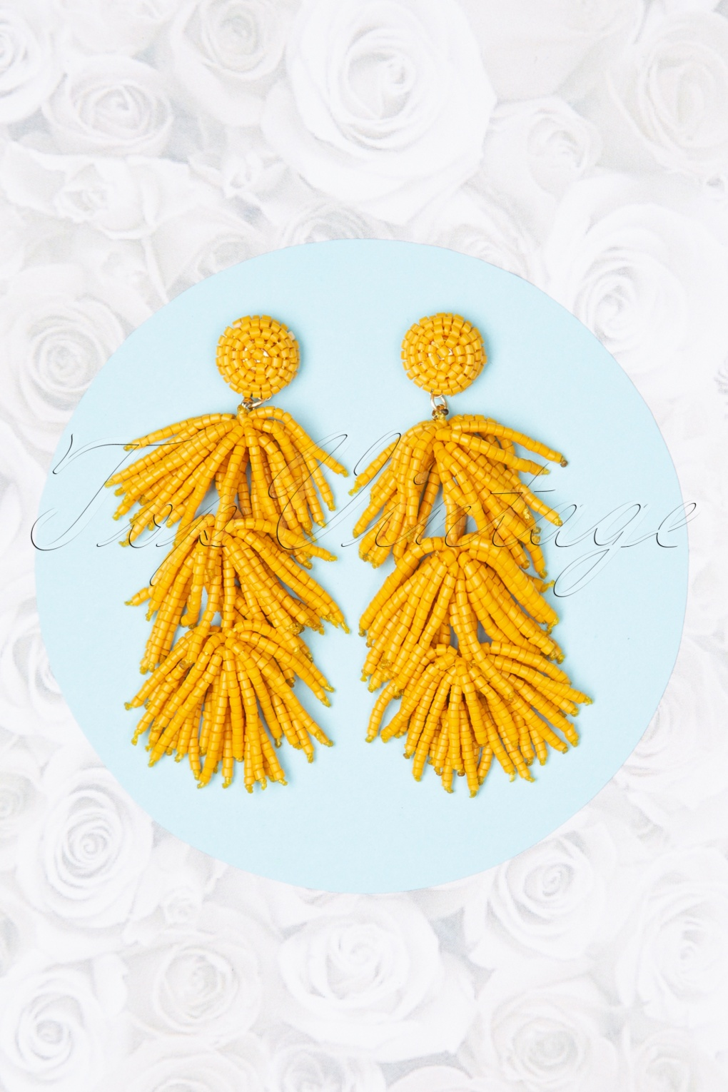 60s -70s Jewelry – Necklaces, Earrings, Rings, Bracelets 70s Sunshine Earrings in Honey Yellow £9.31 AT vintagedancer.com