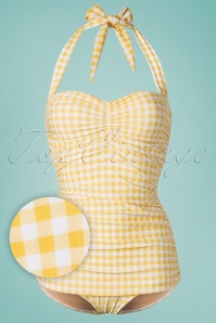 Girl Howdie 50s Summer Gingham One Piece Swimsuit in Yellow and White