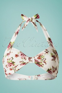 Esther Williams Swimwear 50s Classic Flowers Romance Bikini Top in Cream