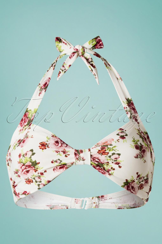 Classic Flowers Romance Bikini Top Années 50 en Crème
