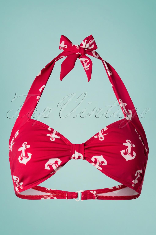 Classic Anchors Bikini Top Années 50 en Rouge et Blanc