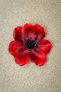 50s Lovely Anemone Hair Clip in Red