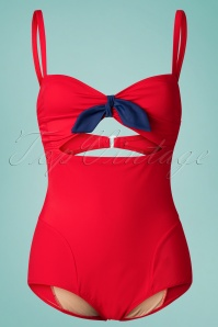 Bettie Page Swimwear 28594 Nautical Red Swimsuit 20190215 005W