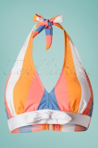 Bettie Page Swimwear 50s Sherbet Stripes Halter Bikini Top in Multi