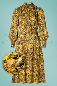Louche 70s Fiorella Vintage Midi Dress in Yellow