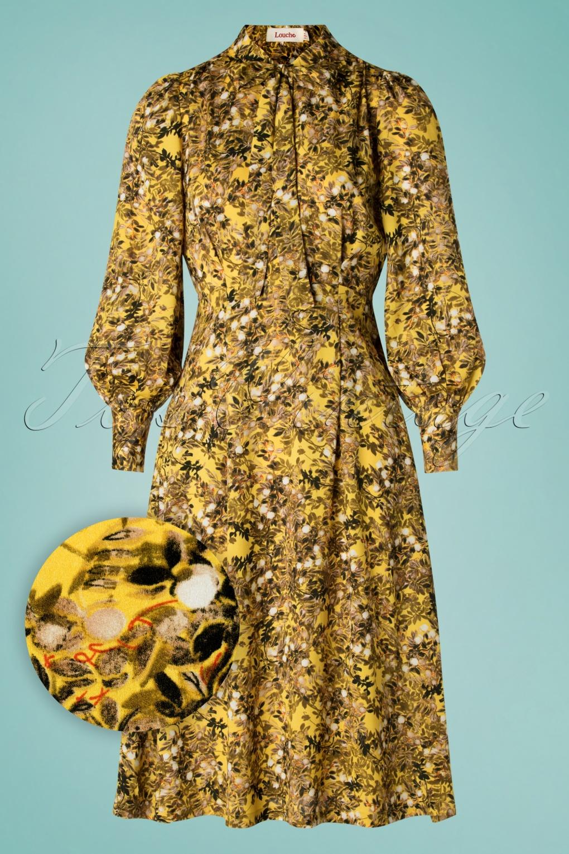 70s Fiorella Vintage Midi Dress in Yellow