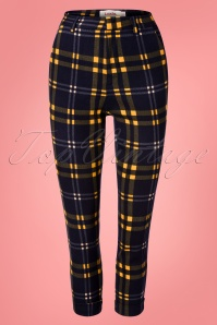 Louche 60s Jaylo Checkmate Trousers in Navy