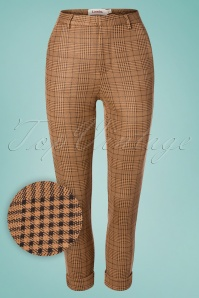 Louche 60s Jaylo Prep Check Trousers in Taupe