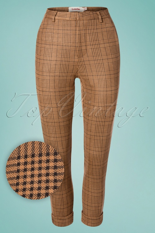 Louche 28125 Jaylo Taupe Check Trousers 20190215 002W1