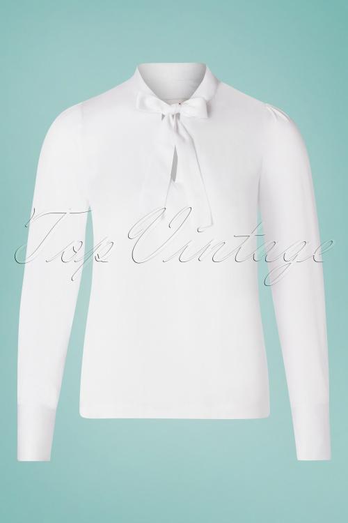 Louche 28131 Miki Tie Blouse white 20190215 003W