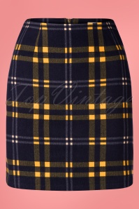 Louche 60s Sibel Check Mate Skirt in Navy