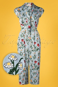 Louche 70s Myrtille Botanical Tie Neck Jumpsuit in Blue Satin