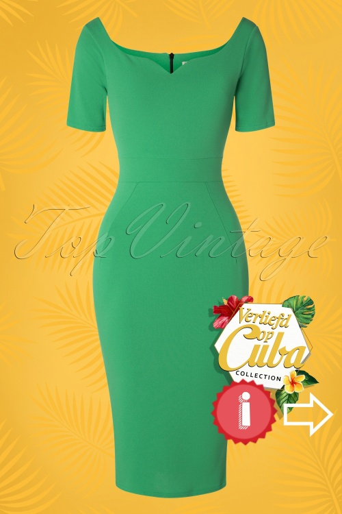 Vintage Chic 28719 Leprchaun Green Pencil Dress 20190121 003W VOC HINT